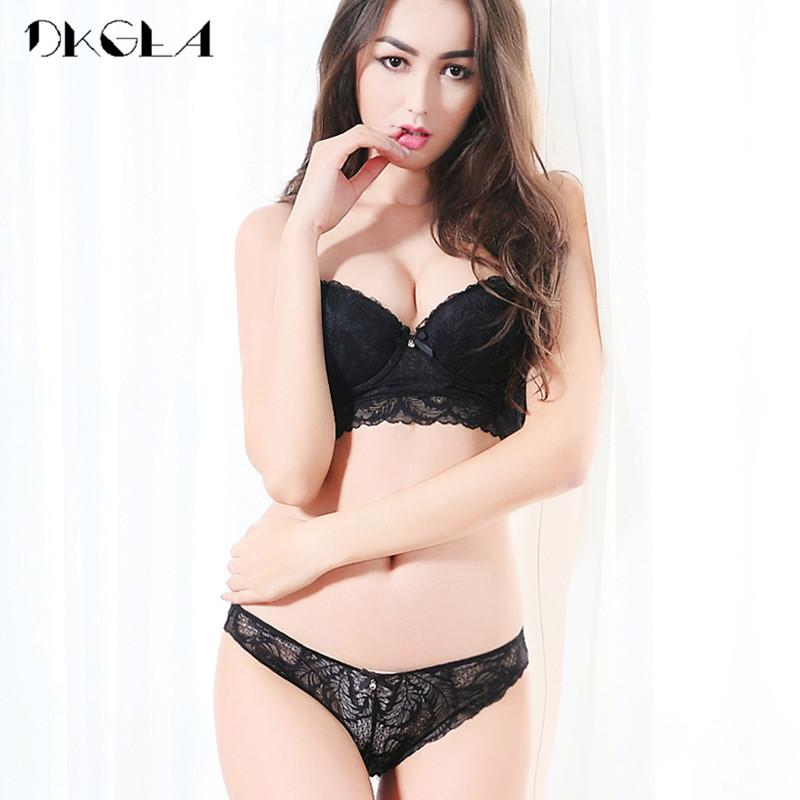 e5588db62d 2019 2018 Black Sexy Bra Panties Sets Brand Lingerie Lace Brassiere Deep V Push  Up Bras Thin Cotton Underwear Women Set Embroidery From Hongxuanstore01