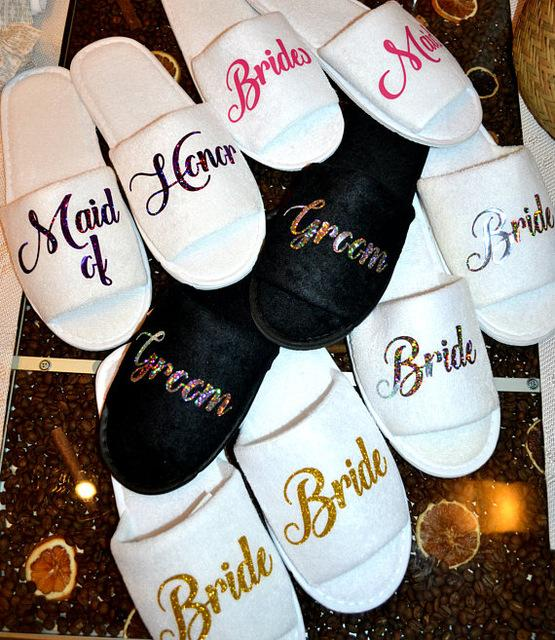 Personalised Titles Wedding Bridesmaid Bride Groom Spa Soft Slippers Hen  Night Bachelorette Party Favors Gifts Kids Wedding Favors Ladies Party  Favors From ... 6543c52c9071