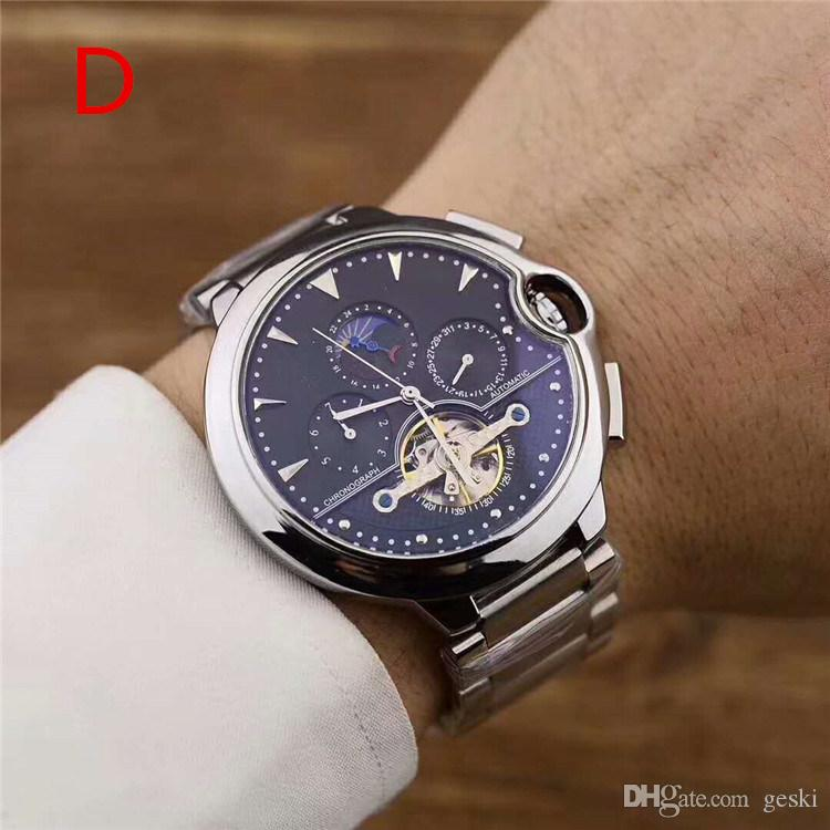 Top qualidade relógios mens de luxo pulseira de aço Inoxidável automático movimento Safira espelho de vidro relógio de mergulho relógios de Pulso automáticos 6 CORES