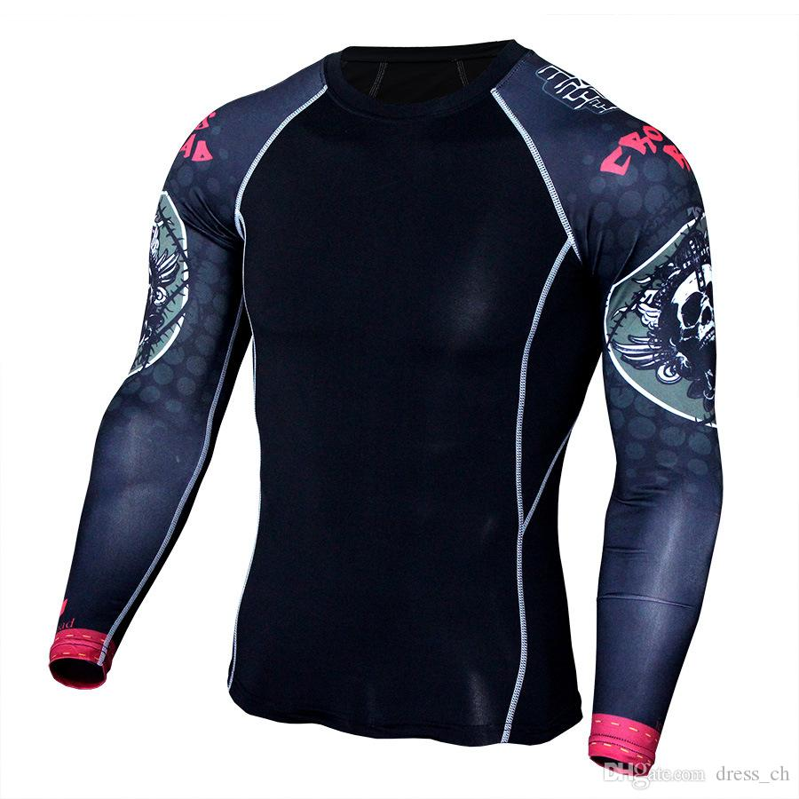 S-4XL Men Stretch Tight Bodybuilding Compression Long Sleeve Fitness Clothing Workout Running Training Shirt Gym T-Shirt Top