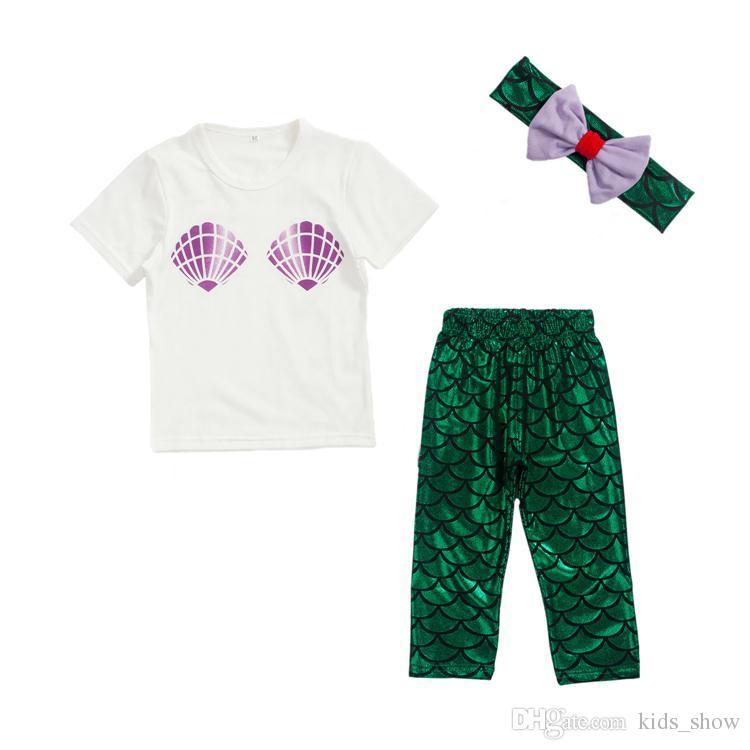 af81a6c3ea6b9 2019 Baby Girl Shell Tops T Shirt +Mermaid Pants Leggings + Bow Headband  Outfits Set Kids Mermaid Clothing Set From Kids_show, $4.24 | DHgate.Com