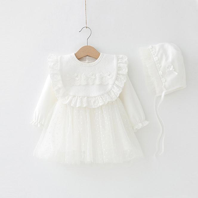 4ab14aafa4546 Compre Bebê Recém Nascido Vestido Roupas De Princesa Vestidos Chapéu  Infantil Bonito Batizado Vestidos De Bebê Menina Vestidos De Batismo Outono  De ...
