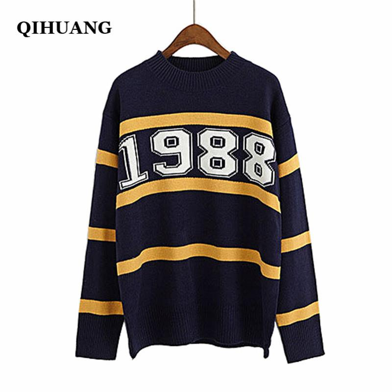 c78afe4ea5 QIHUANG Korean Fashion 1988 Patchwork Knitted Women Sweater And Pullovers 2018  Winter Autumn Loose Sweater Female Jumper Pullovers Cheap Pullovers QIHUANG  ...
