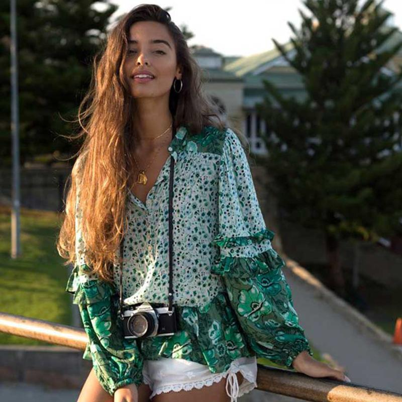 95f5c76441c9 2019 Boho Summer Beach Tops Vintage Floral Print Ruffles Blouses Women 2018  New Fashion V Neck Buttons Shirts Casual Blusas Mujer From Benedica