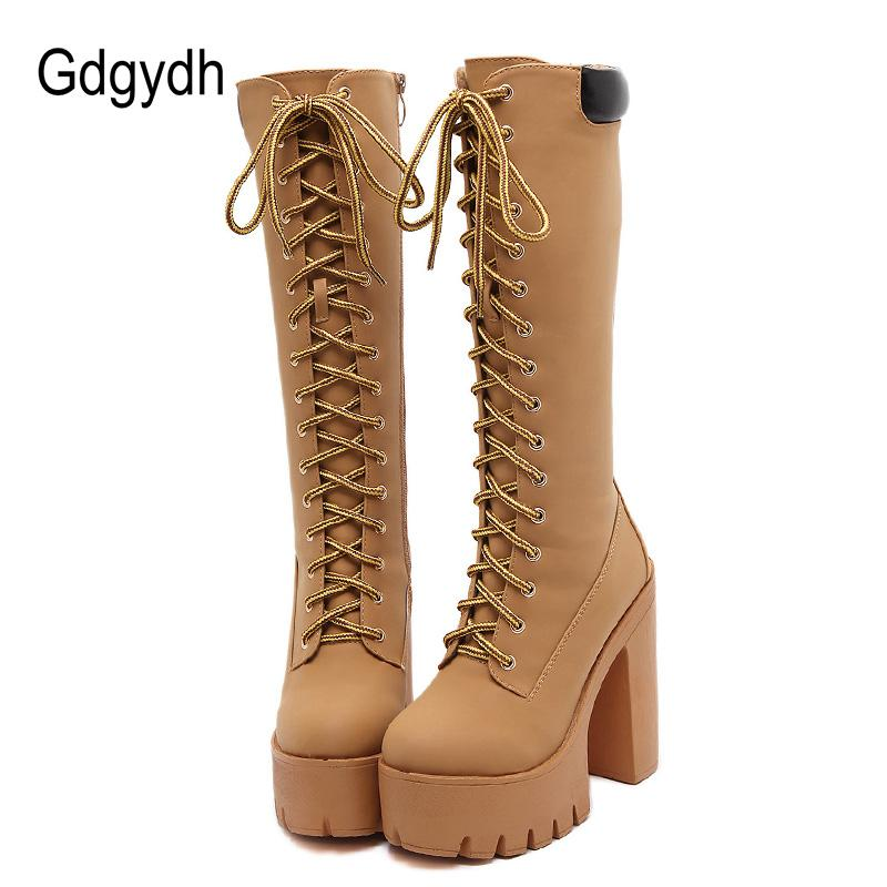 25e3bb72d59 Gdgydh Wholesale 2018 Autumn Women Knee High Boots Lace Up Thick High Heels  Rubber Sole Leather Boots Shoes Female Platform Army Boots Peep Toe Booties  From ...