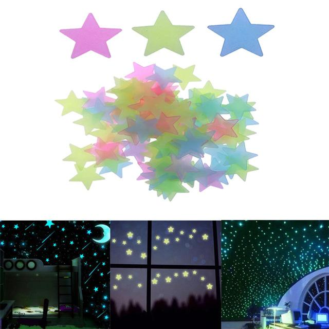 set stars wall stickers decal glow in the dark baby kids bedroom