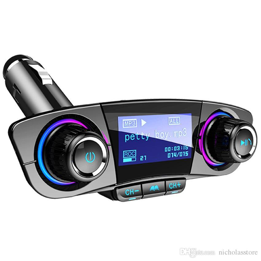 BT06 Car Kit FM Transmitter Bluetooth Handsfree A2DP AUX Audio Car MP3  Player LCD Display 1 3 Inch Screen Dual USB Car Charging T10 T11 BC06