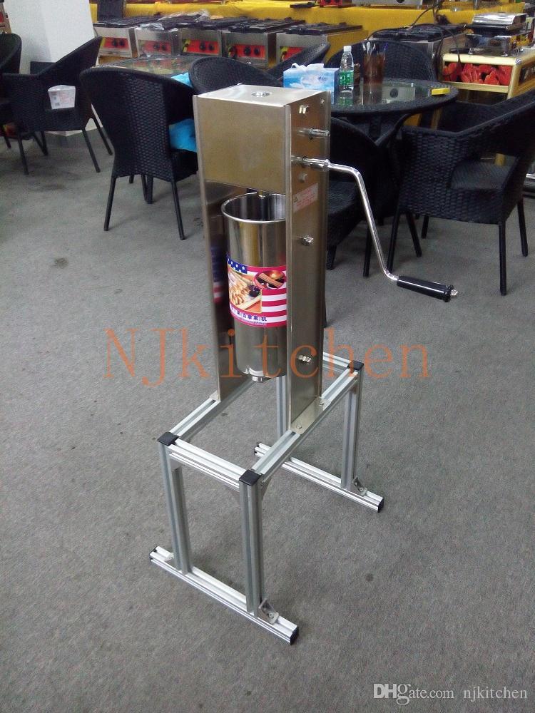 Ücretsiz Kargo Ticari Kullanım Manuel Paslanmaz Çelik Spainish Churros Maker Makinesi ile 5 adet Memeleri ile churros fritöz ve churros standı