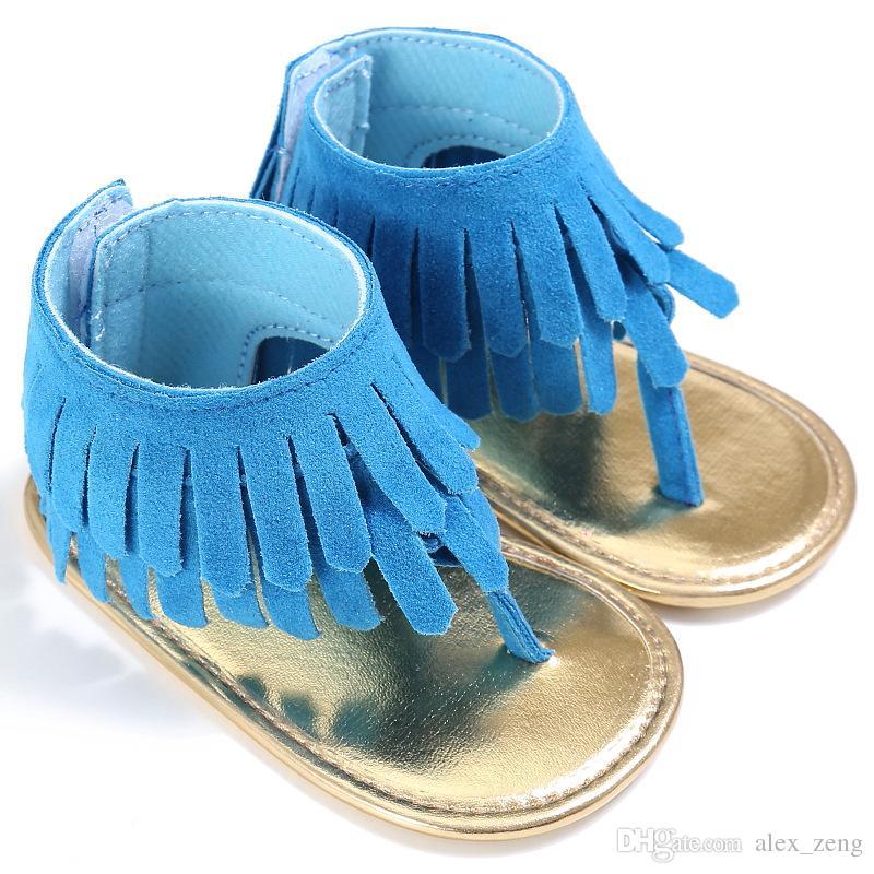 الصيف الرضع شرابة الصنادل الطفل الصنادل الجلدية الفتيات طفل عارضة أحذية متعدد الألوان أحذية عالية الأعلى الطفل الوليد الطابق المشي الأحذية