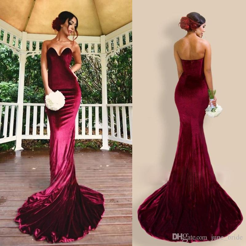 c2cbd035c92 Newest Burgundy Velvet 2018 Mermaid Prom Dresses Sweetheart Backless Bodycon  Evening Gowns Sexy Long Gala Banquet Girls Party Dresses Cheap Plus Size  Prom ...