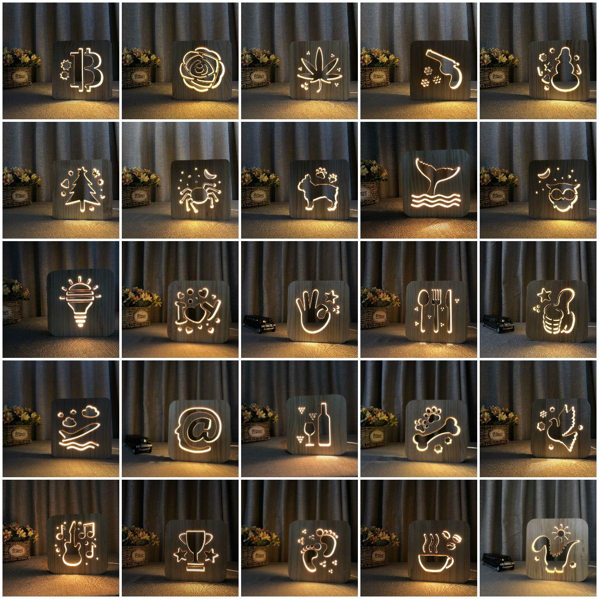 flower LED Table Desk lamp 3D Lamp Cartoon Wooden Nightlight,USB Power Home Bedroom Decoration Lamp 3D Wood Carving Pattern LED NightLight