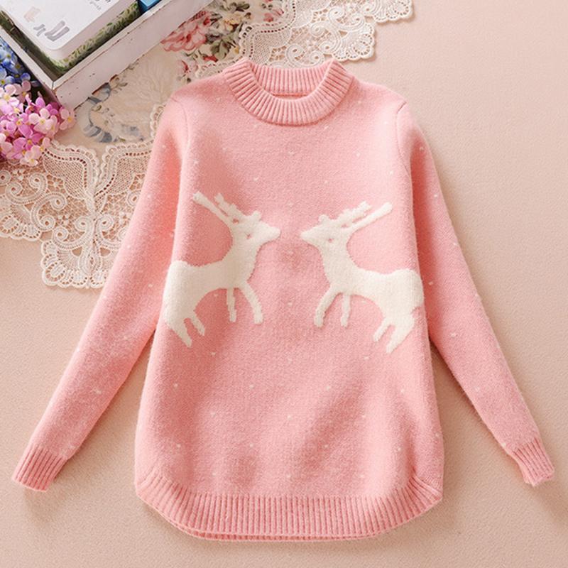 e2e6b034e Christmas Knitted Sweater Cardigan For Girls Autumn Winter Winter ...
