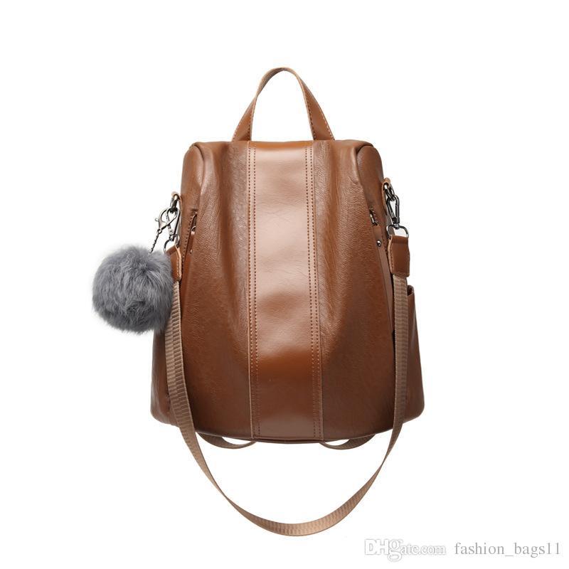 6418cfc62ec3 2018 Fashion New Brand Designer Women Lady Backpack Style Rucksack Bag  Portable Multifunction Genuine Leather Popular Travel Bags Handbags Backpack  Style ...