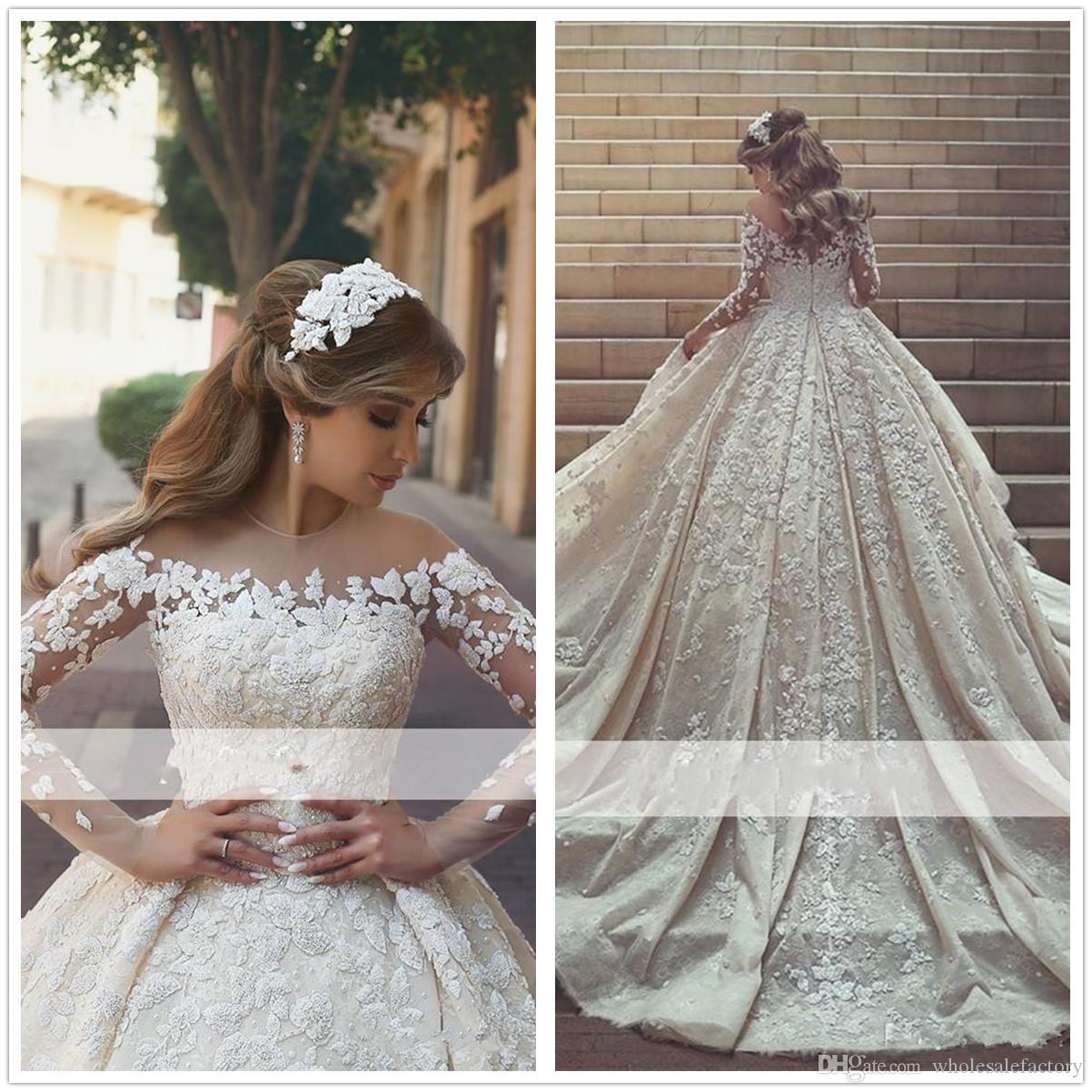 d833aa76a 2018 Arabic Sheer Long Sleeves Lace Ball Gown Wedding Dresses Ruched  Applique Beaded Stones Sweep Train Bridal Wedding Gowns Wedding Dresses  2014 Ball Gown ...