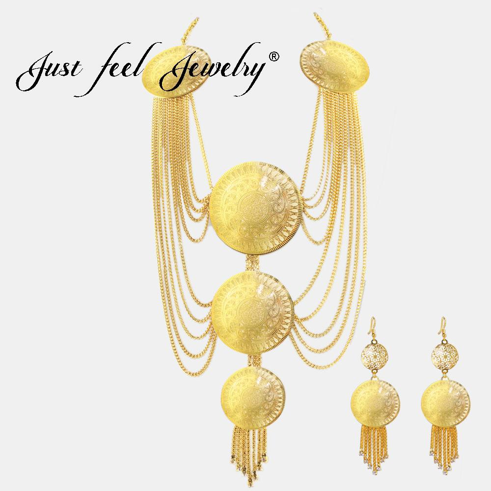 d18dc2d29c JUST FEEL Crystal Round Copper Jewelry Sets For Women Multilayers Chain  Gold Color Necklace Earrings Dubai African Wedding Sets Jewelry Sets For  Bride ...