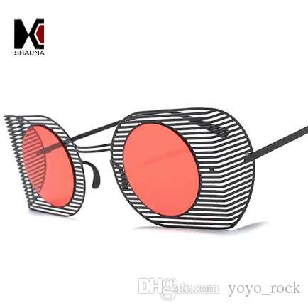 dfed45f9ae9e SHAUNA Ultralight Punk Style Women Goggle Sunglasses Fashion Hollow Out Frame  Men Round Red Tinted Lens Glasses UV400 Glasses For Men Mens Eyeglasses  From ...