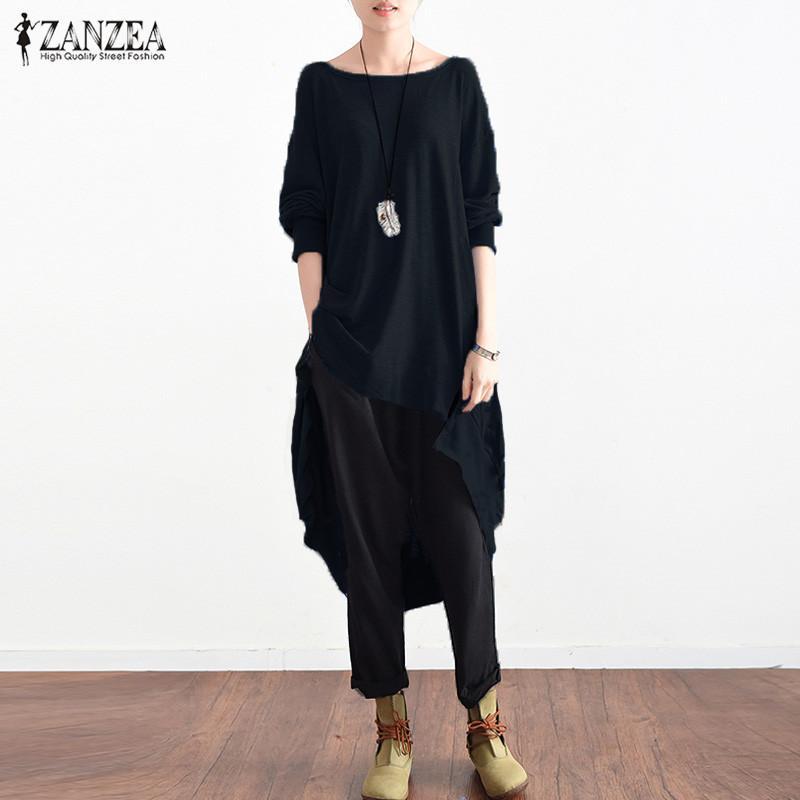 986bf9d1782 Flare ZANZEA Plus Size Long Blouse Full Sleeve Round Neck Asymmetric ...