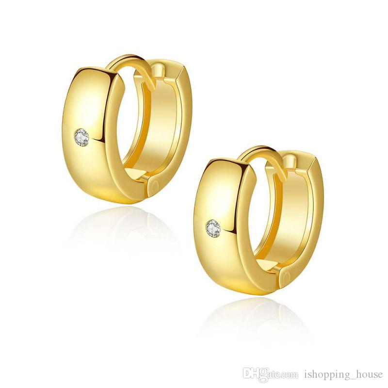 7f1415f28 2019 Unisex Earrings For Men Women Simple Fashion 18K Yellow Gold White Gold  Plated CZ Earrings Hoops For Children Girls Women Nice Gift From ...