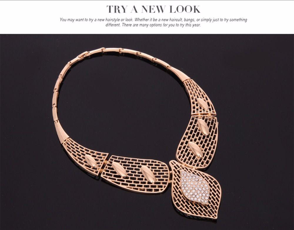 Collana esagerata di grandi choker le donne Dichiarazione di perline africane Bracciale a catena Orecchini Anello Set di gioielli Accessori da sposa