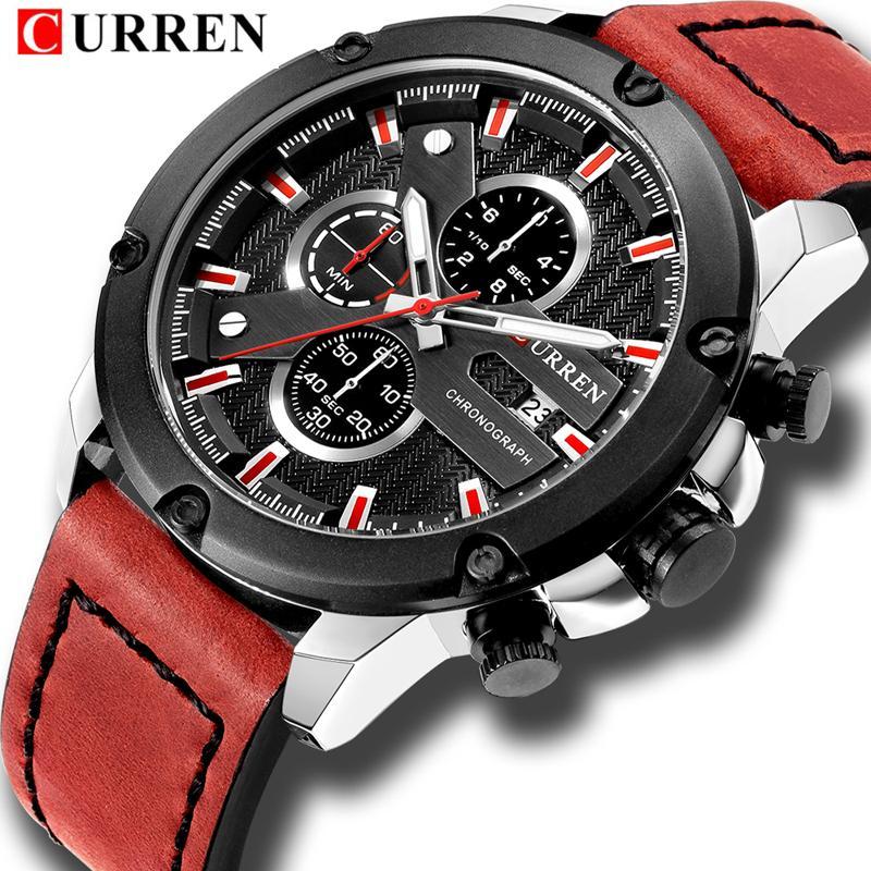d4db51555b6cf Acheter CURREN Luxe Marque Hommes Montres De Sport Hommes Quartz Date Mâle  Horloge Homme En Cuir Étanche Chronographe Montre Bracelet De $36.25 Du ...