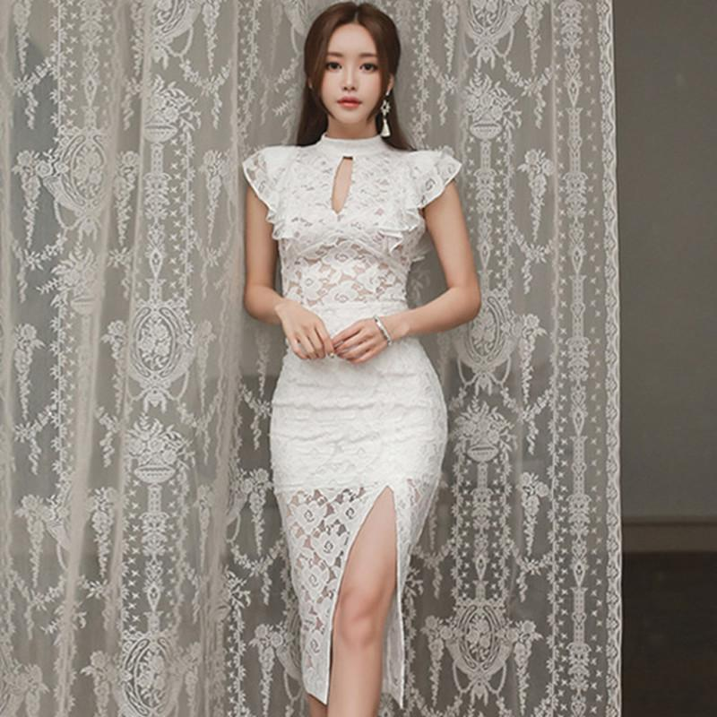 0e0775876a1f 2019 2018 Summer Ruffles Short Sleeve Top Blouse Midi Pencil Bodycon Skirt Two  Piece Sets White Lace Suit Sexy Party Dress From Clothesb1988