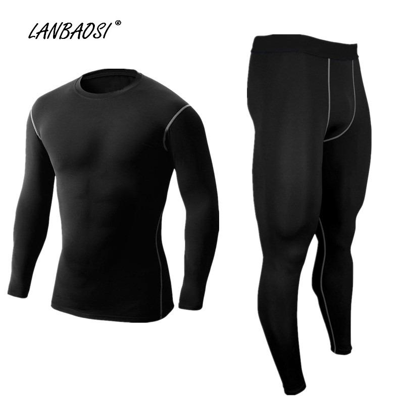 defdd0fced38d 2019 Wholesale LANBAOSI Men'S Compression Shirts & Pants Black Set Running  Tights Baselayer Workout Fitness Training CrossFit Sports Tops Pant From  Masn, ...