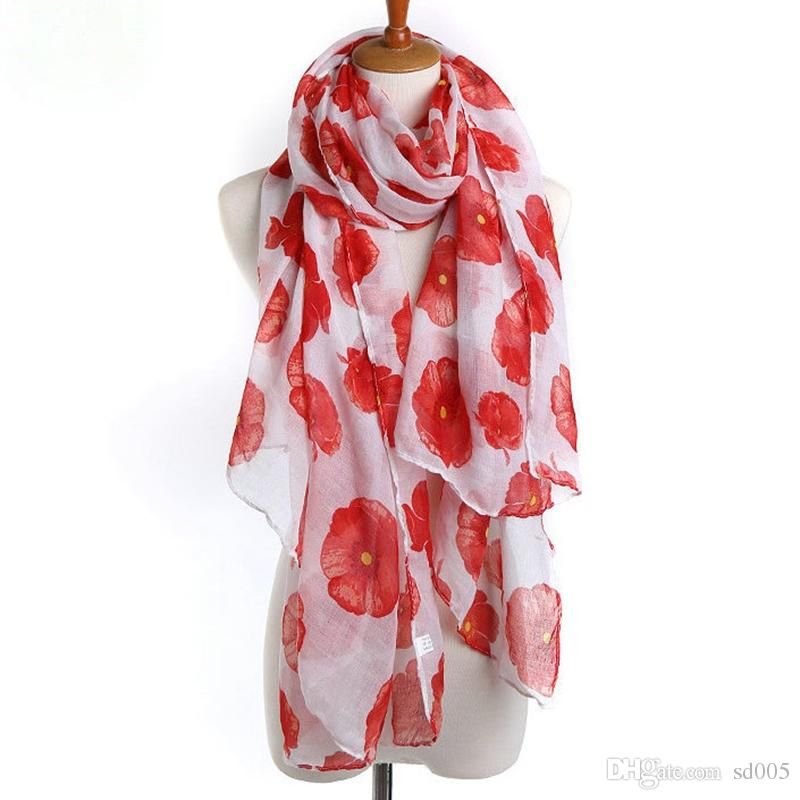 Flower Print Long Foil Voile Spring Summer Seaside Wrap Ladies Female Girls Sunscreen Stole Warm Beach Scialle Fashion 7 5ds bb