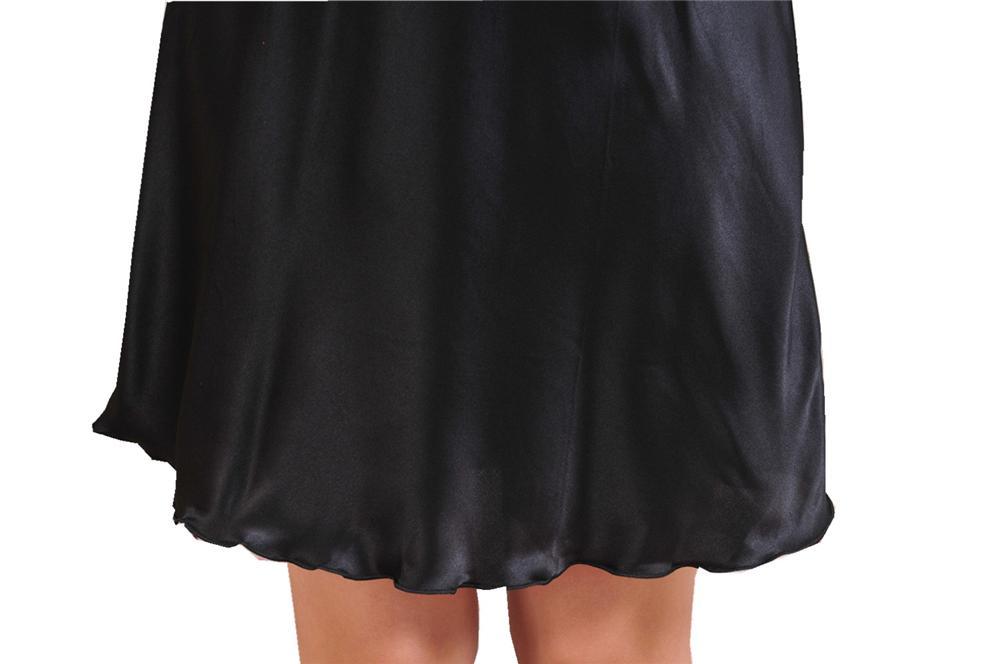 New Black Women's Sleepwear Female Sexy Spaghetti Strap Nightgown Plus Size XXXL Rayon Nightdress Short Robe Dress Gown NG008