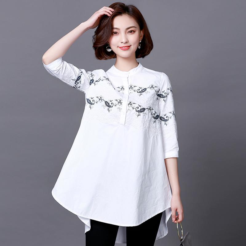 83d701aede Compre Novo Design De Verão Plus Size Mulher Vestuário Moda Vintage Bordado Blusa  De Tecido Camisas Para 55 Kg 105 Kg Femme De Edwiin04