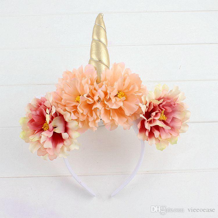 Vieeoease Baby Girls Headbands Unicorn Hair Sticks 2018 Fashion Horn Flower Gauze Headband Girls Princess Party Accessories EE-182