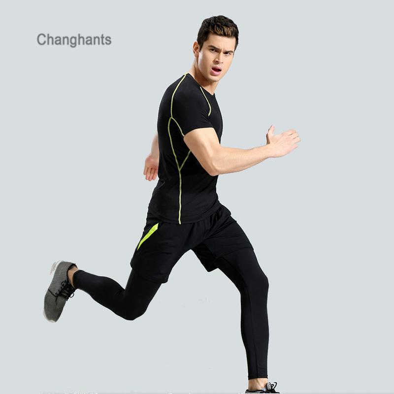 c7e2a50a0c 2019 Men Running Pants T Shirt Tights Black With Red Or Green Lines Quick  Dry Yoga Sportswear Sport Set Fitness Gym Basketball Jersey From Vanilla12,  ...
