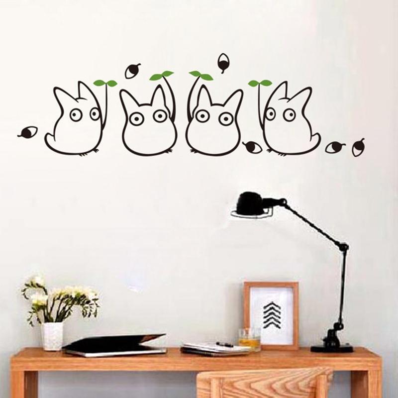 new cartoon animation vinyl totoro wall decals for children's room