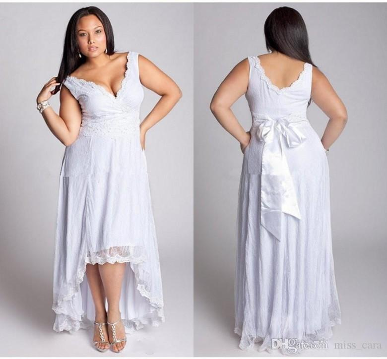 28d95b03ac44a Discount Modest High Low Plus Size Wedding Dresses V Neck Sleeveless  Matched Bow Sash A Line Lace Bridal Gowns Vestido De Noiva Custom Made  Second Marriage ...
