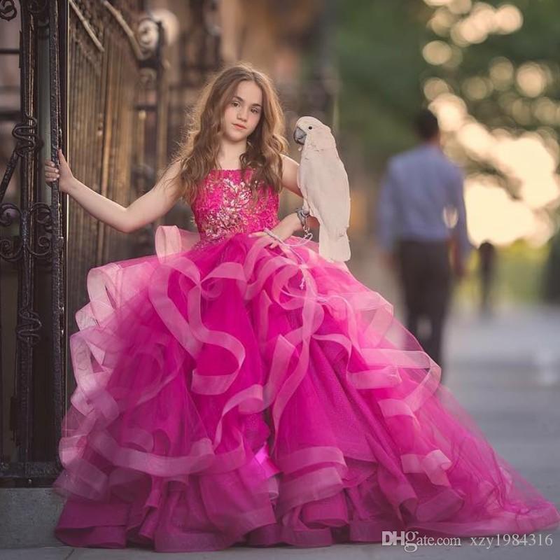 844f5ec4ffe Fluffy Fuchsia Flower Girls Dresses Spaghtti Straps Lace Applique Tull Ball Gown  Girls Pageant Dress 2018 Gorgeous Princess Birthday Dresses Latest Dresses  ...