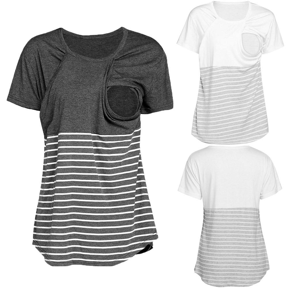 73c8484025e 2019 Fashion Striped Maternity Nursing Shirts Breastfeeding T Shirt Breast  Feeding Tops Clothes For Pregnant Women Nursing Tshirts From Breenca