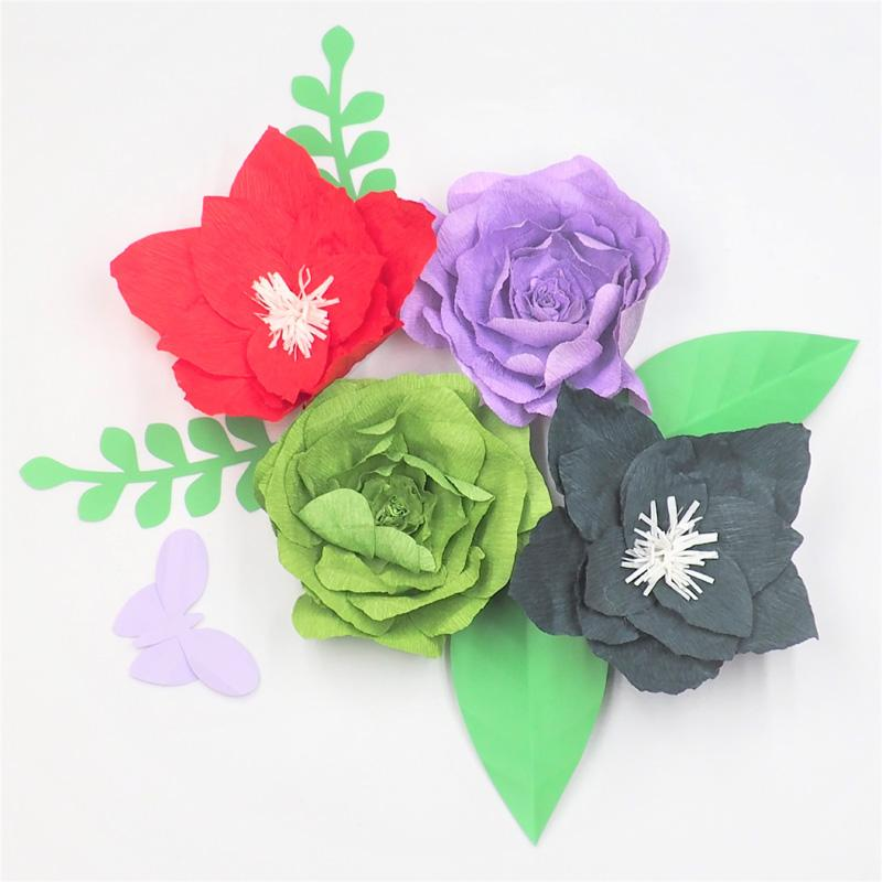 2018 4pcs Large Crepe Paper Flowers Backdrop 4pcs Leaves 1 Piece Butterfly For Wedding Event Retail Store Home Decoration