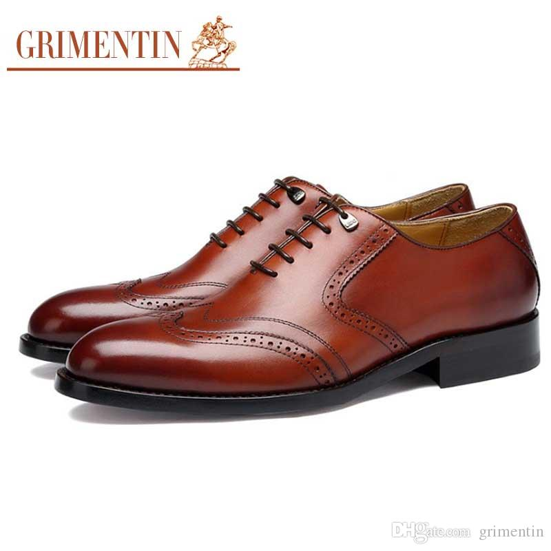 a4a8260122a44 GRIMENTIN Brand customized handmade shoes genuine leather mens dress shoes  fashion hot sale large size formal business male shoes size:6-12