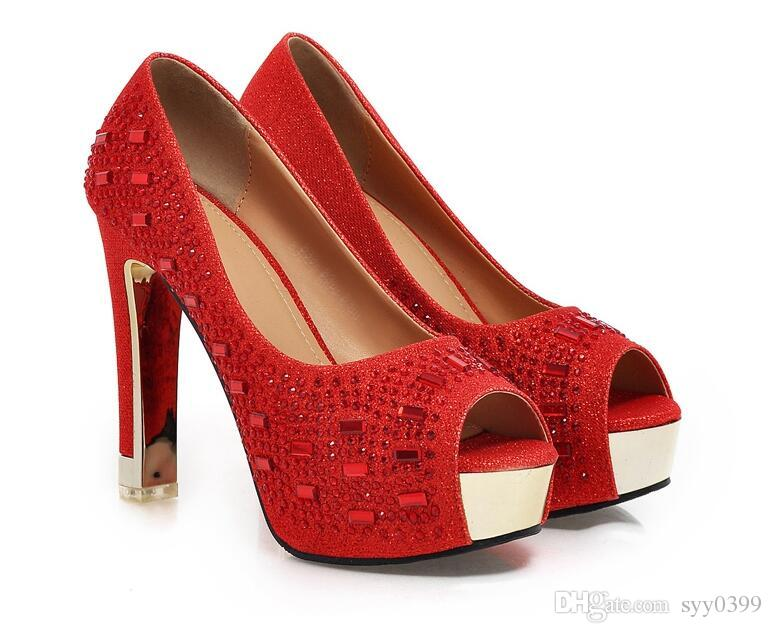 Chaud !!! Nouveau style femme chaussures de mariage peep-toes chaussures or strass chaussures à talons hauts robe livraison gratuite taille 34 ~ 39
