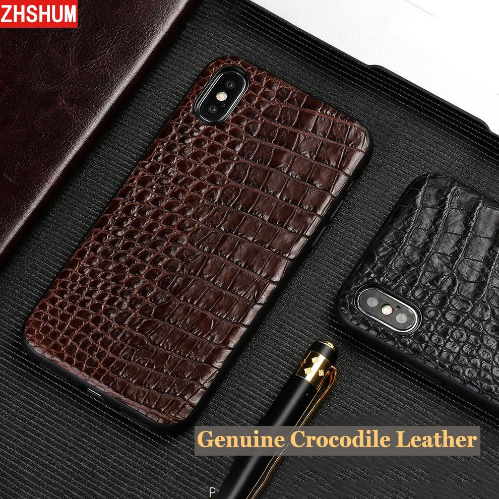 big sale 5d6e7 abad9 Genuine Crocodile Leather Case For Iphone X 7 Plus Iphone 8 6S Luxury  Handmade Croco Cases Back Cover for Iphone 5 5S 6 SE S 10
