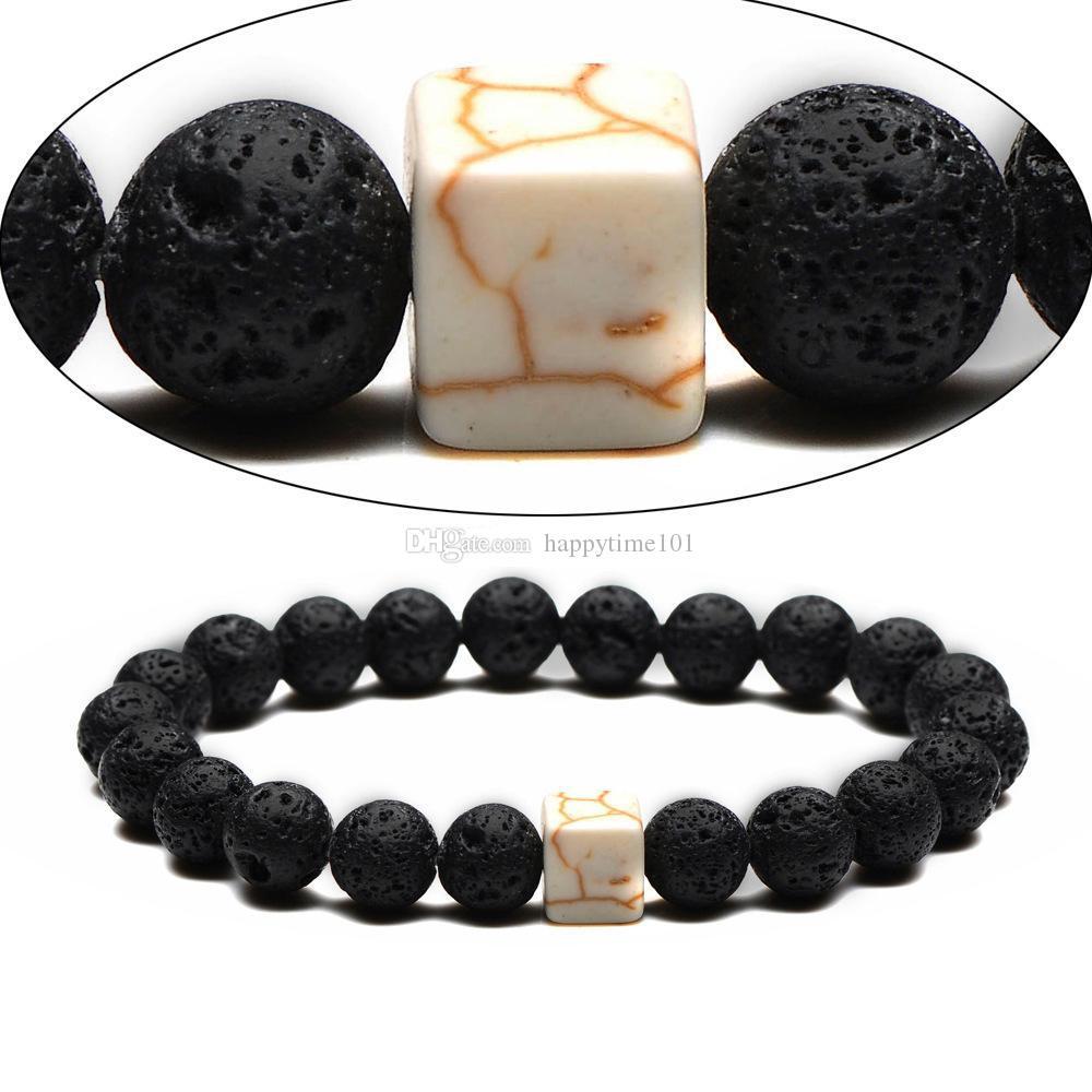 Moda 8MM naturale pietra lavica nera braccialetto quadrato turchese borda Lovers Bracciali gli uomini regali delle donne