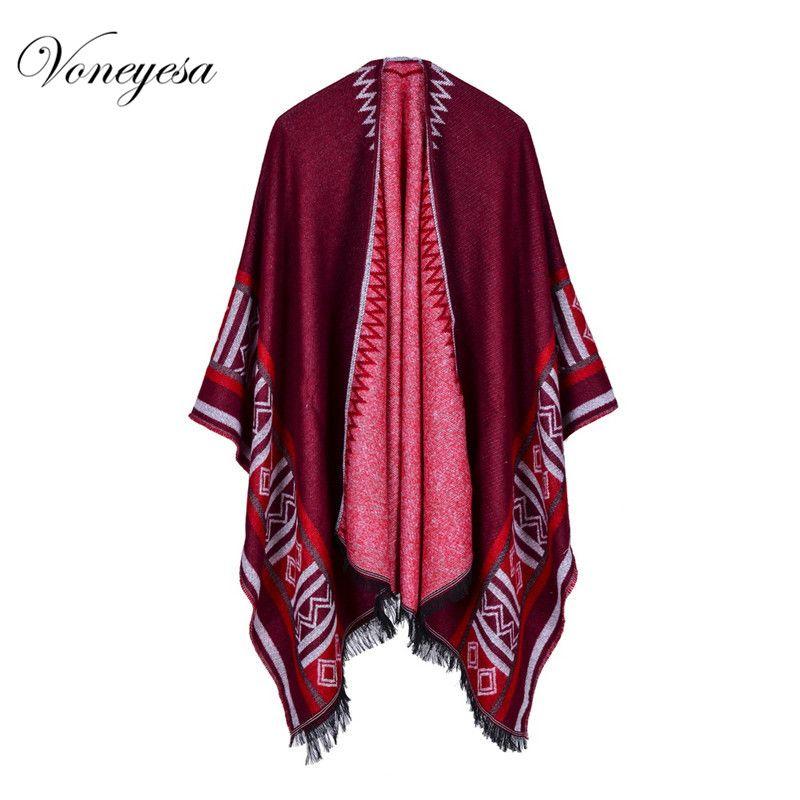 Voneyesa New Winter Poncho Foulards pour Femmes Chaud Cahmere Femmes Oversize Châles 4 Couleur Haute Qualité RO17014