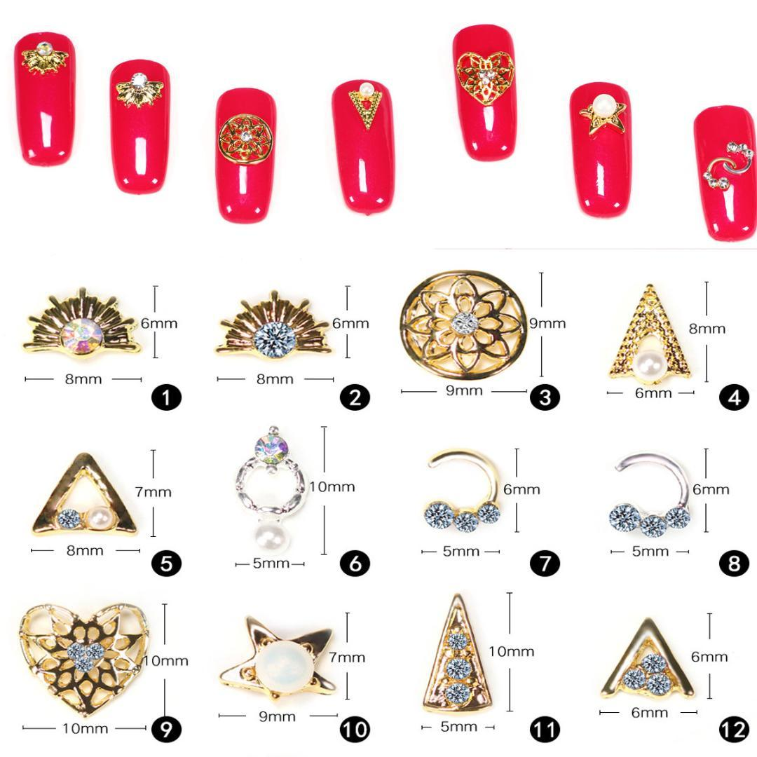 10pcs 3D Reto Gold Rhinestones Metal Alloy Crystal Frame Nail Art Decoration Charms Diamond Nails Acrylic Gel Polish Accessoires