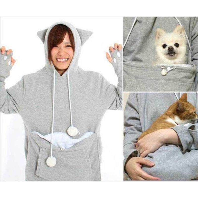 Women Girl Kangaroo Pet Cat Holder Coat Pouch Large Pocket Hoodie Pullover Top Hoodys Women's Hoodies & Sweatshirts