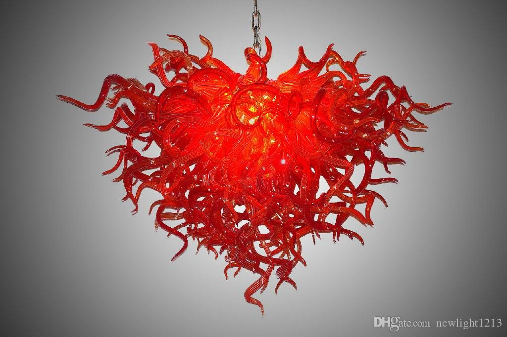 New Products Glass Chandelier and Pendant Lamps In Red Color Table Top Centerpieces LED Hand Blown Glass Chandelier Crystals