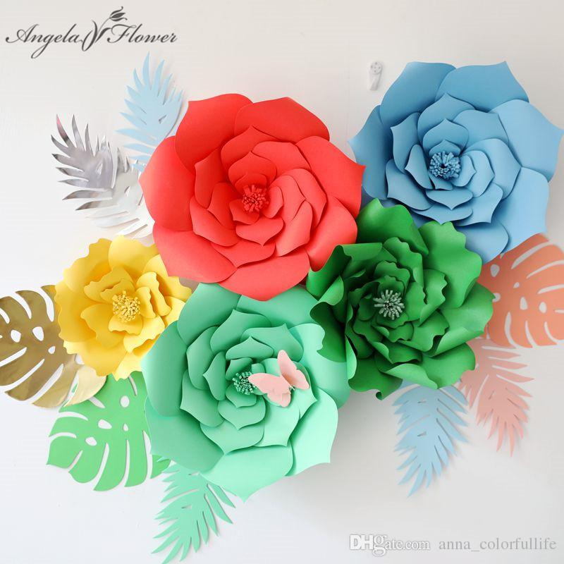 Diy Craft Paper Flower Paper Leaves Birthday Party Wedding Paper Flower Wall Window Deco Event Supplies Stage Background 6pcs