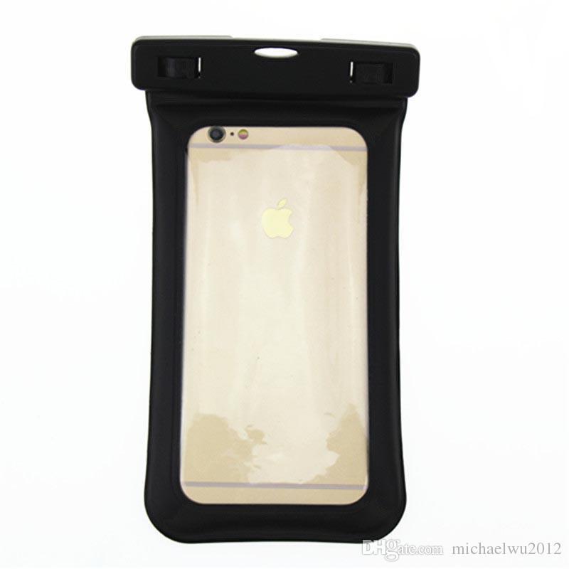 Flutuante airbag design ipx8 à prova d 'água seca bolsa case transparente universal à prova d' água saco do telefone móvel case para iphone 6 6 s