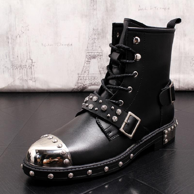 5205ee352d8 ERRFC Designer Luxury Mens Black Motorcycle Boots Fashion Forward Rivets  Buckle Strap Mid Calf Boots Man Metal Punk Shoes 38-43