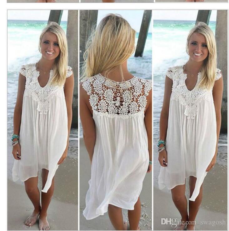 cb78099bfda4 Acquista Vestito Estivo 2018 Donna Casual Beach Short Dress Nappa Nero  Bianco Mini Abito Di Pizzo Abiti Da Festa Sexy Abiti S XXXL A  21.22 Dal  Swagosh ...