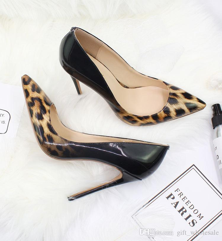 2018 Girls Women Dress Pumps High Heels Heeled Shoes 10cm 12cm Sexy Pointed Toe Party Fashion Animal Print Big Size High Quality