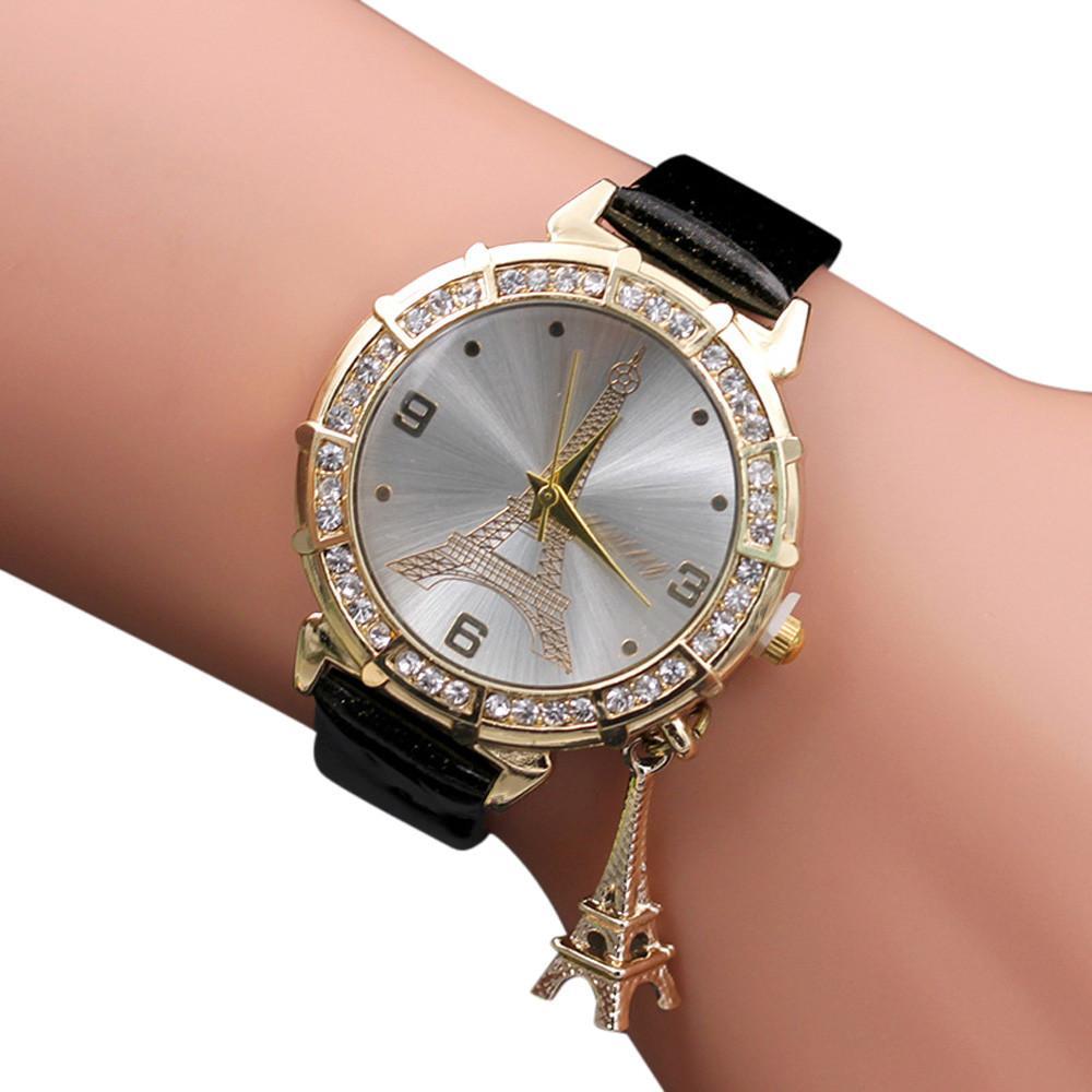 229e929ddbc Compre Pulseira Das Mulheres Relógios De Pulso De Quartzo A Torre Eiffel  Pingente De Strass Relógio De Pulso Relogios Femininos Presente   5 De  W245